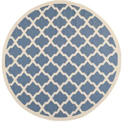 Octavius Blue/ Beige Indoor/Outdoor Area Rug Rug Size: Round 710