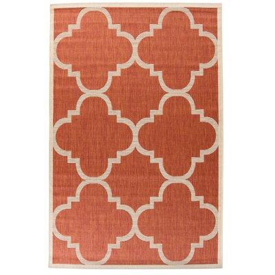 Alderman Natural/Terracotta Outdoor Area Rug Rug Size: 53 x 77