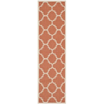 Alderman Natural/Terracotta Outdoor Area Rug Rug Size: Runner 23 x 8