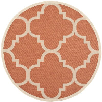 Octavius Natural/Terracotta Outdoor Area Rug Rug Size: Round 53