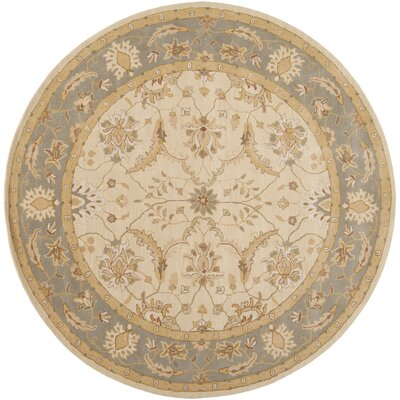 Florence Hand-Woven Putty Area Rug Rug Size: Round 8
