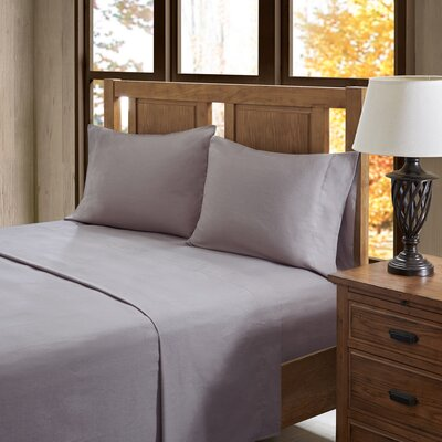 Casey 100% Cotton Flannel Sheet Set Size: King, Color: Gray