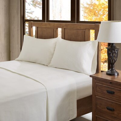 Casey 100% Cotton Flannel Sheet Set Size: Full, Color: Ivory