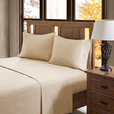 Casey 100% Cotton Flannel Sheet Set Size: King, Color: Tan