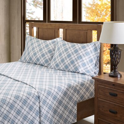 Carone 100% Cotton Flannel Sheet Set Size: King, Color: Blue Plaid