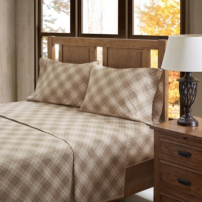 Carone 100% Cotton Flannel Sheet Set Size: King, Color: Tan Plaid