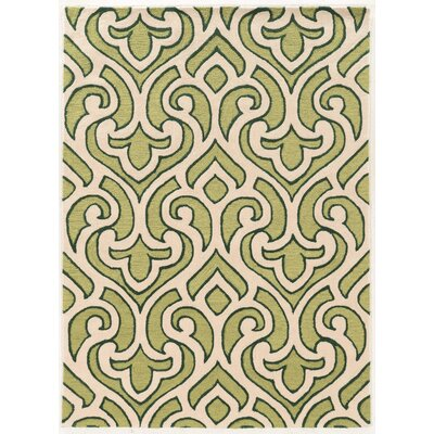 Coggins Hand-Tufted Cream/Green Area Rug Rug Size: 5 x 7