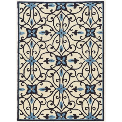Coggins Hand-Tufted Cream/Blue Area Rug Rug Size: 5' x 7'