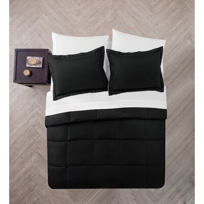 Casey 5 Piece Comforter Set Color: Black/White, Size: Queen
