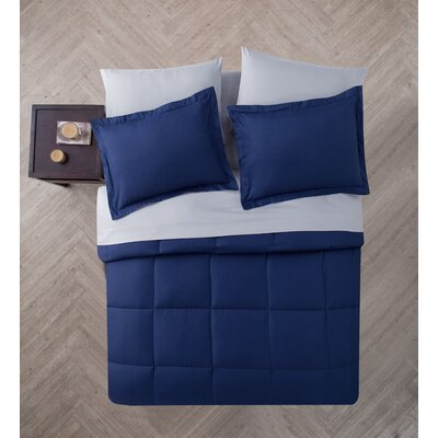 Casey 5 Piece Comforter Set Color: Navy/Gray, Size: Full