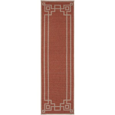 Minnie Cherry/Beige Indoor/Outdoor Area Rug Rug Size: Runner 23 x 79