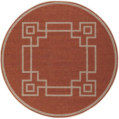 Minnie Cherry/Beige Indoor/Outdoor Area Rug Rug Size: Round 73