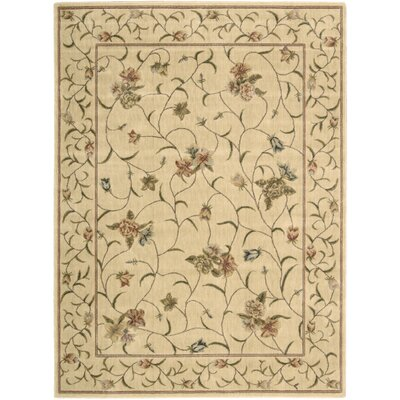 Merton Hand-Woven Ivory/Green Area Rug Rug Size: Rectangle 56 x 75