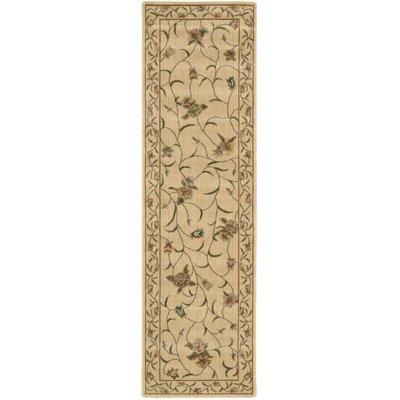 Merton Hand-Woven Ivory/Green Area Rug Rug Size: Runner 2 x 59