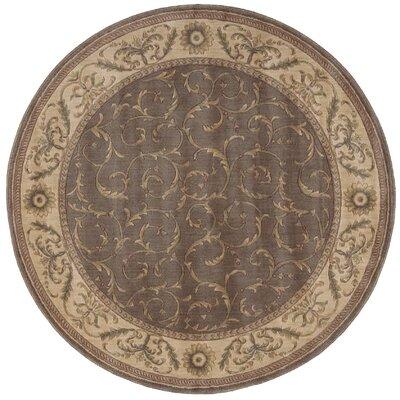 Merton Hand-Woven Khaki Area Rug Rug Size: Round 56
