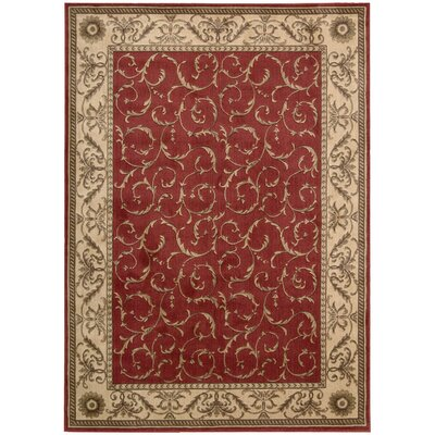 Merton Red/Gold Area Rug Rug Size: 36 x 56