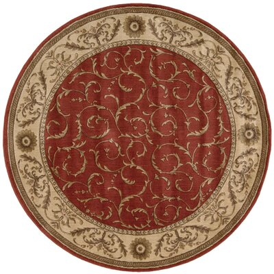 Merton Red/Gold Area Rug Rug Size: Round 56