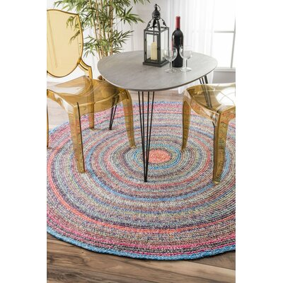 Mortimer Hand-Braided Area Rug Rug Size: Round 6