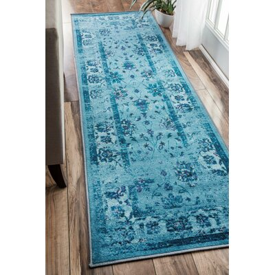 Myrtle Turquoise Area Rug Rug Size: Runner 26 x 86