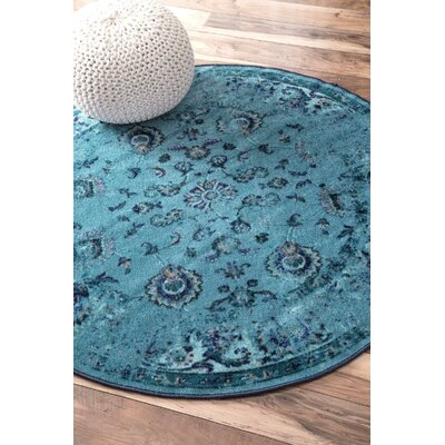 Myrtle Turquoise Area Rug Rug Size: Round 5
