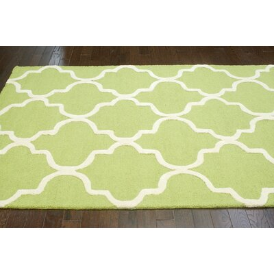 Parkman Holly Hand-Tufted Green Area Rug Rug Size: Rectangle 76 x 96