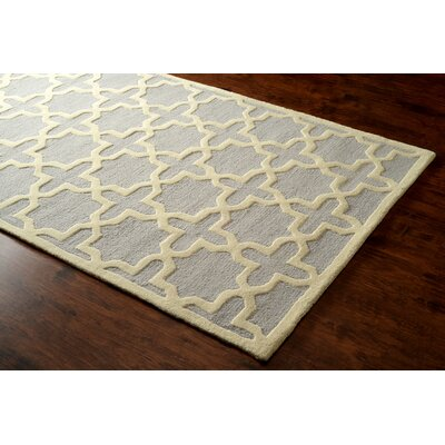 Parkman Gerard Hand-Hooked Light Gray Area Rug Rug Size: Rectangle 76 x 96