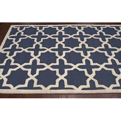 Parkman Gerard Hand-Hooked Navy Area Rug Rug Size: Rectangle 86 x 116