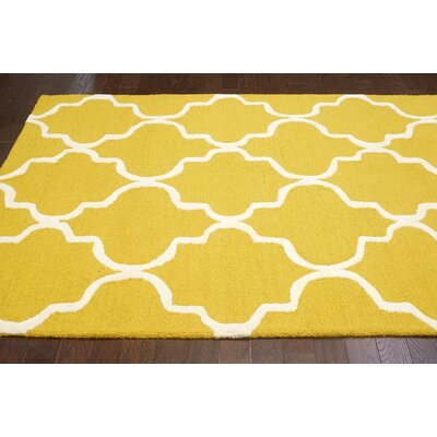 Parkman Holly Hand-Woven Yellow Area Rug Rug Size: 76 x 96