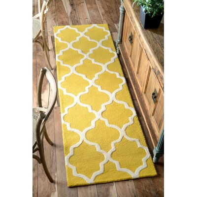 Parkman Holly Hand-Woven Yellow Area Rug Rug Size: Runner 26 x 8