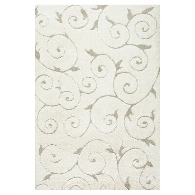 Pipers Ivory Vine Swirls Area Rug Rug Size: 4 x 6