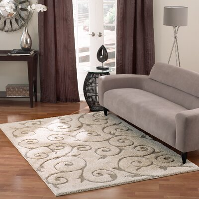 Pipers Cream Vine Swirls Area Rug Rug Size: 67 x 9
