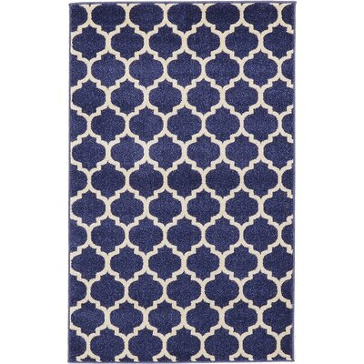 Coughlan Navy Area Rug Rug Size: 33 x 53