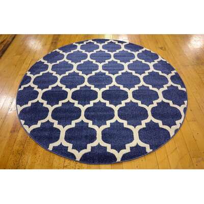 Coughlan Navy Area Rug Rug Size: Round 33
