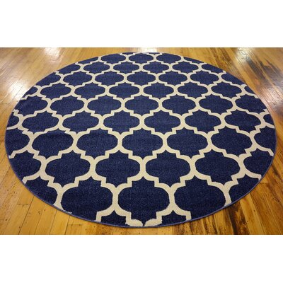 Coughlan Navy Area Rug Rug Size: Round 8'