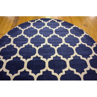 Coughlan Navy Area Rug Rug Size: Round 6