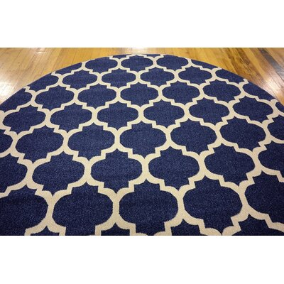 Coughlan Navy Area Rug Rug Size: Round 8