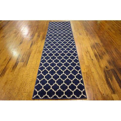 Coughlan Navy Area Rug Rug Size: Runner 27 x 10