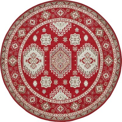 Michael Red Area Rug Rug Size: Round 8