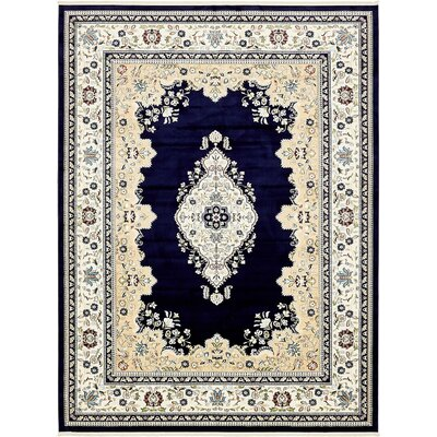 Courtright Navy Blue/Ivory Area Rug Rug Size: 3 x 5