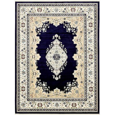 Courtright Navy Blue/Ivory Area Rug Rug Size: 5 x 8