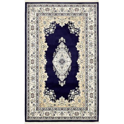 Courtright Navy Blue/Ivory Area Rug Rug Size: 13 x 198