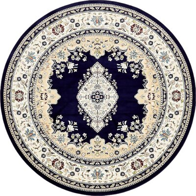 Courtright Navy Blue/Ivory Area Rug Rug Size: 10 x 13