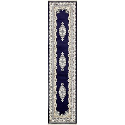 Courtright Navy Blue/Ivory Area Rug Rug Size: Runner 3 x 13