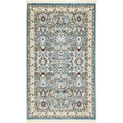 Courtright Blue/Ivory Area Rug Rug Size: 5 x 8