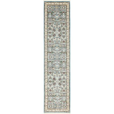 Courtright Blue/Ivory Area Rug Rug Size: Runner 3 x 13