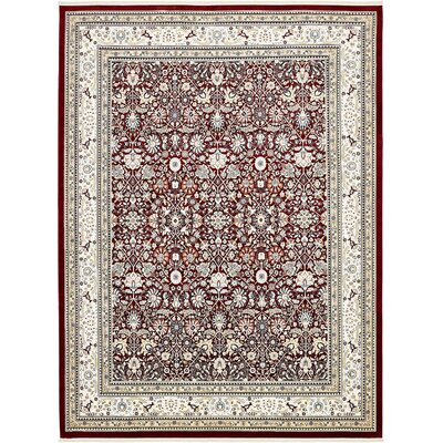 Courtright Burgundy/Ivory Area Rug Rug Size: 8 x 10