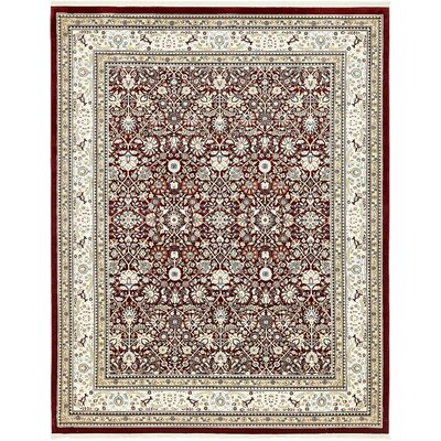Courtright Burgundy/Ivory Area Rug Rug Size: 10 x 13