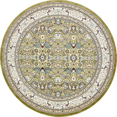 Courtright Green/Tan Area Rug Rug Size: Round 10