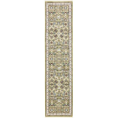 Courtright Green/Tan Area Rug Rug Size: Runner 3 x 13