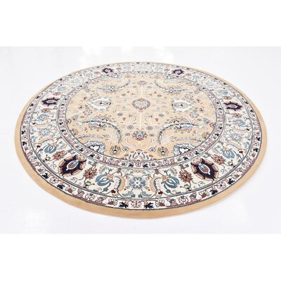 Courtright Tan/Ivory Area Rug Rug Size: Round 10